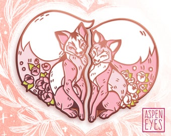 Foxy Valentine fox enamel pin | valentine's day soft enamel pin | valentine's day gift | fox pin | Foxy Valentine | enamel pin