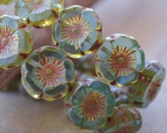 6 Aqua Carved Hawaiian Flower Beads 12mm- Czech Picasso Beads (427-6)