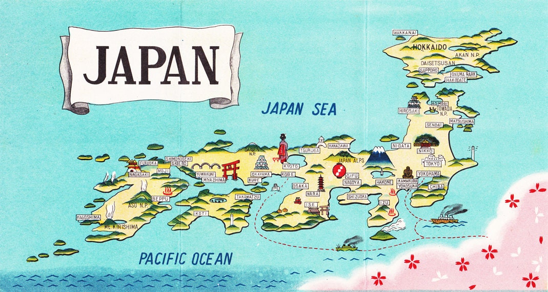 map of Japan charming cartograph from the 1950s a