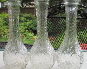 4 Clear Glass Bud Vases, Set of 4 Wedding Centerpiece Vases, Bridal Vases