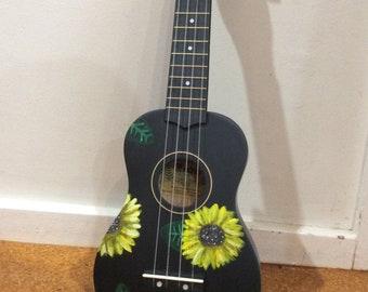 Painted Ukuleles- sunflower or sea themed