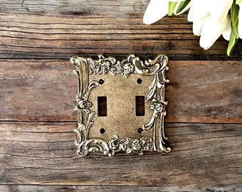 Ornate Gold Metal double Light Switch Cover Plate
