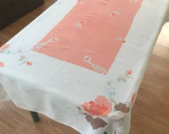 Vintage Linen Tablecloth, Retro Coral Colored Flowered Tablecloth, Vintage Table  Linens, Retro Tablecloth