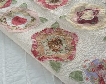 """RAGGY ROSES Quilted Lap QUILT, 55 1/2"""" Square, Handmade Quilt, Scrappy, Raggy Edge Quilt, Ready To Ship, One Of A Kind, Country Farmhouse"""