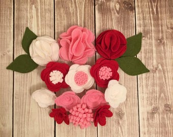 Handmade Wool Felt Flowers, Red, Pink and White