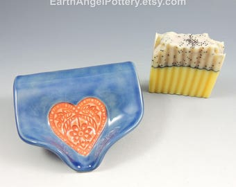 Ceramic Soap Dish ~ Soap Saver ~Blue Soap Dish Pottery ~ Pink Heart Textured Self Draining Soap Dish ~ Handmade Soap Dish ~ In Stock