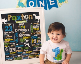 First Birthday Poster-16x20-Printable-Chalkboard Dinosaur Milestone Poster-Customized One Year Old Poster