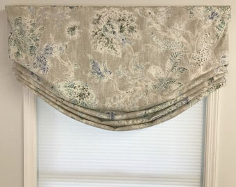 Custom Made to Order Relaxed Faux Roman Shade (stationary) Valance Using Your Fabric