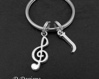 Treble Clef KeyRing, Treble Clef KeyChain, Music Keyring, Personalised Music Key chain, Music Jewellery, music Gifts, Treble Clef Keychain