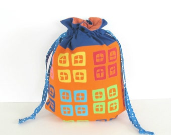 Crochet Bag, Knitting Bag, Drawstring Knitting Project Bag, MediumTote Bag Geometric Blue Orange Yarn Bag