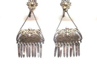 Vintage Sterling Silver Filigree Earrings Cannetille Sterling Silver Dangle Earrings Screw Back