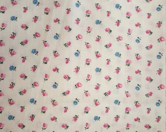 Pink and Blue Roses on Cream Background