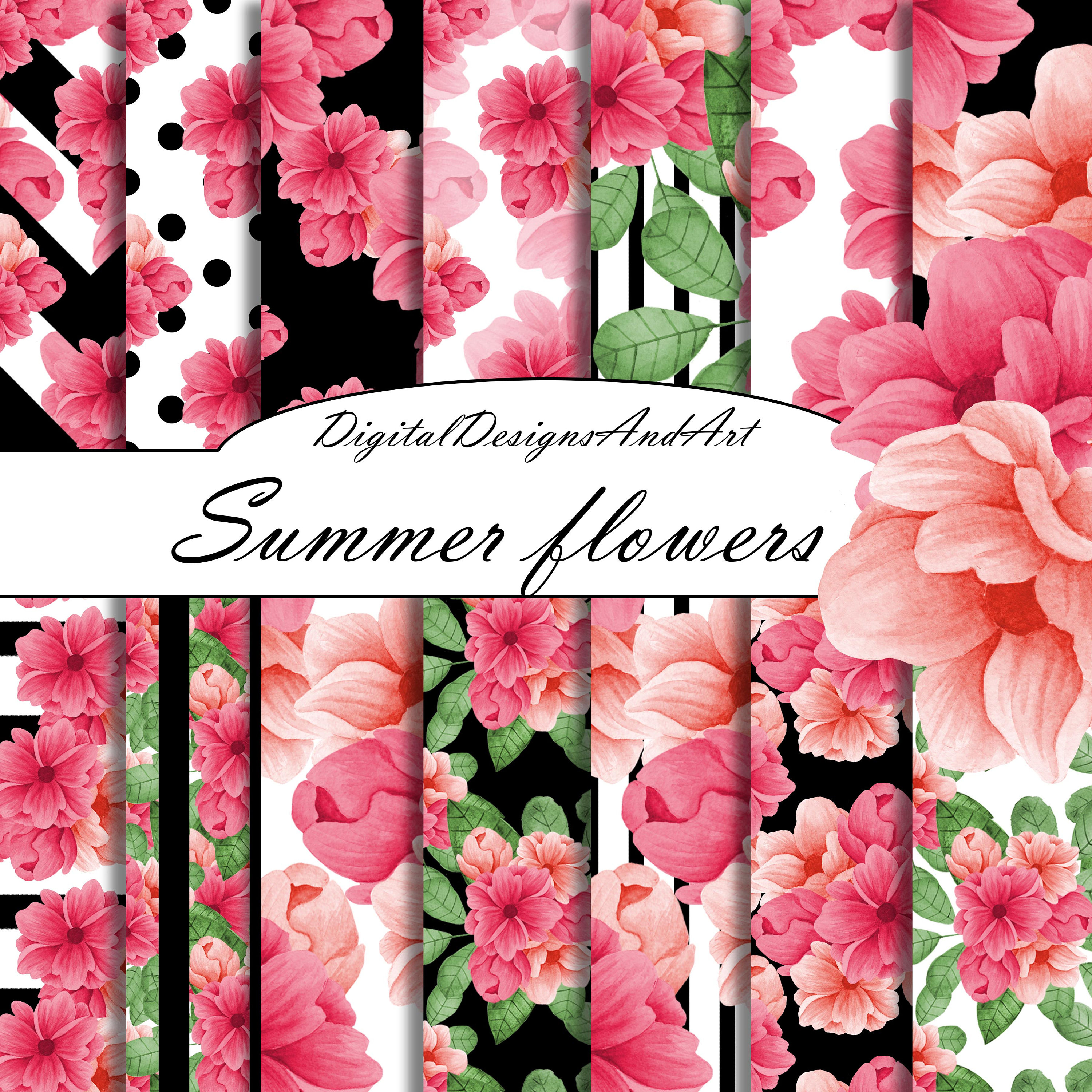 Pink flower digital paper pink and black digital paper floral this is a digital file mightylinksfo