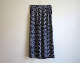 Navy Blue Womens Maxi Skirt Printed Long Skirt A Line Skirt Small Size