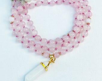 Love Mala, Rose Quartz Mala, Mala Necklace, Prayer Mala Beads, Japa Mala, Mala Beads, Knotted Mala, Mala, Spiritual Healing Mala, MKRQ