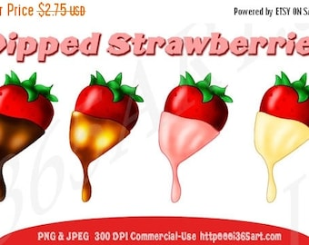 50% OFF Chocolate Strawberries Clipart, Dipped Strawberries, Party Invitations, Scrapbooking, Strawberry, White Chocolate, PNG Commercial