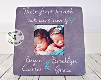 ON SALE Personalized Picture Frame for Twins, Their First Breath Took Ours Away, Newborn Twins, Fraternal Twins, Gift for New Parents, Nurse