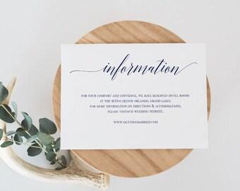 Navy Information Card template Wedding Information Card Template Wedding Info Navy Wedding Insert Wedding Details Card Editable Template