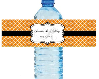 Tangerine Orange Monogram Water Bottle Labels Great for Engagement Bridal Shower Wedding Anniversary Birthday Party 2 sizes available