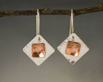 Contemporary Mixed Metal Layered Earrings - Copper and Sterling Geometric Textured Dangles