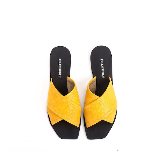 Slip On Sandals Sandals Cross Sandals Flat Slides Sandals Leather Sandals Women's Sandals Summer sandals Yellow Leather Criss 0xn7qIfOw