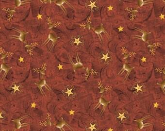 Wilmington Prints - Santas Big Night By Debbie Mumm - Reindeer - Red - Fabric by the Yard 67563-325