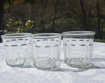 vintage French jam jars, set of 3Confiture jar, Heavy glass jam jar,French vintage kitchenware, French Country