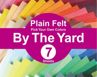 7 YARDS Plain Felt Fabric - pick your own colors (A1y)