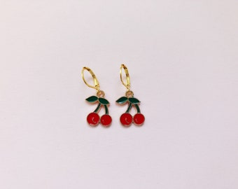 Cherry Charm Gold Colored Drop Earrings