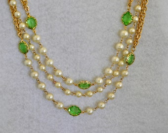 Multi Strand Faux Pearl and Green Cut Glass Necklace, Gold Tone, Gold Necklace, Green Necklace, Vintage Necklace, 18 Inch Necklace, 18-171