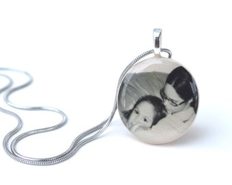 Custom Portrait Necklace • Personalized Photo Necklace, Mother's Day Personalized, Photo Jewelry Mom From Daughter, Mother Daughter Gifts •