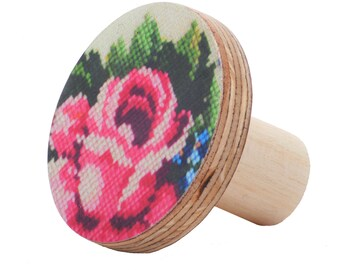 Wooden knobs - rose flower vintage embroidery inspired design