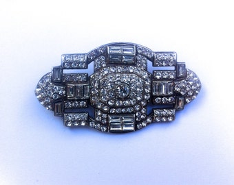 Deco Diamante Crystal Brooch