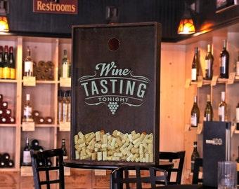 "24x36 Wine Cork Holder / Wall Decor Art - ""Wine Tasting Tonight"" / Wine Quotes"