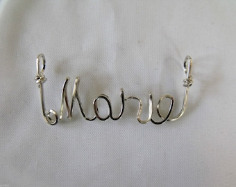 "MARIE  or  ANY  name pendant  handmade for you!  Wire Name on 18"" chain ,PERSONALIZED Teen Gift."