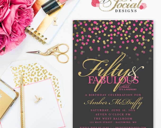 Glitter Glam Confetti Surprise 60th 50th 40th 30th Birthday Party Invitation Fifty and Fabulous PRINTABLE Grey Background and Hot Pink