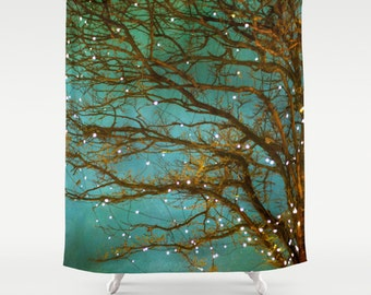 shower curtain, bathroom decor, modern shower curtain, photo curtain, magical green teal tree branches woodland forest yellow