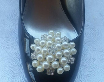 Shoe Clips - Pearl and Rhinestone Wedding Shoe Clips - Bridesmaid Shoe Clips - Wedding Shoe Clips - Mother of Bride