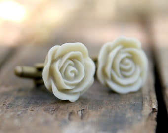 Ivory Ecru Rose Flower Cufflinks   Groom Gift    Best Man Gift    Groomsmen Gift    Vintage Wedding   Gift For Man   Wedding Gift