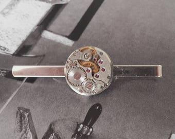 Round watch movement tie clip