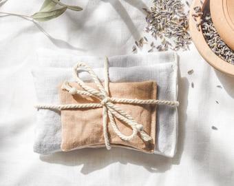 Lavender filled linen pillows, set of 3. Floral herb sachet. Aromatherapy. lavender drawer sachets + one purse mini. white + tan linen