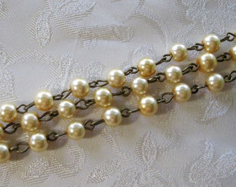 """One Meter 39.5"""" Lemon Chiffon Glass Pearl 6mm Beaded Rosary Link Chain Antique Bronze 963"""