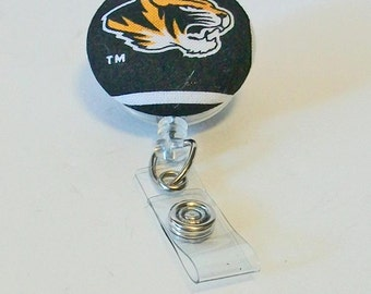 Black and Gold Tigers Mizzu Inspired Fabric Button Retractable Badge Reel Clip