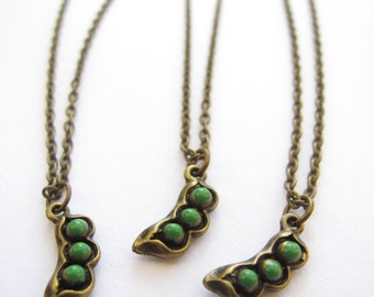 Three Peas in a Pod - Best Friends Necklaces // Three Best Friends // Friends Forever