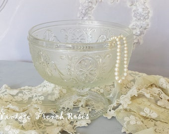 Clear Compote Pedestal Bowl Indiana Glass Sandwich Pattern Fruit Bowl Candy Dish Bath Nursery Shabby Chic Romantic Cottage French Farmhouse