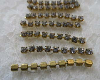 """Czech rhinestone chain 1&1/4""""sections,18pp crystal,7 sections-SZS39"""