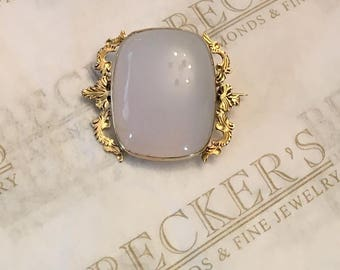 Art Nouveau 14k yellow gold Filigree Etched Pin Brooch with a Cushion Shaped Milky White Quartz Cabochon, 22x18mm