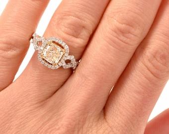 2.04 carats Light Natral Yellow Diamond Engagement Ring