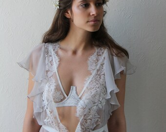 Esme Silk and Lace Robe // Luxurious French Leavers lace appliqué on sheer silk georgette