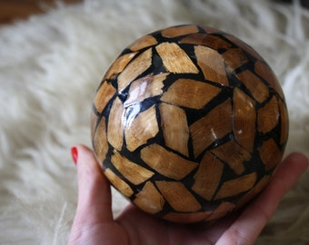 Banana Leaf and Bamboo Vintage Decorative Sphere